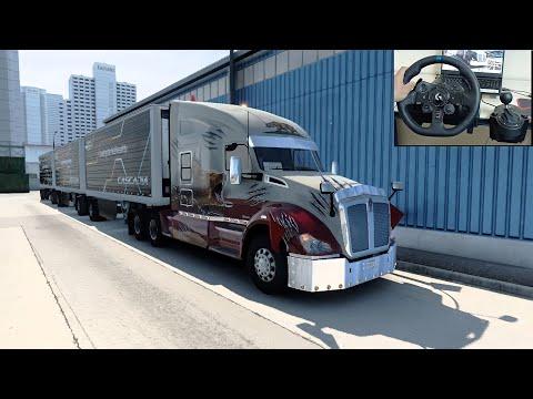 Three trailers load in an American truck - American Truck Simulator  | logitechg923 gameplay |