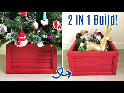 DIY Wood Christmas Tree Box - That's also Ornament Storage!