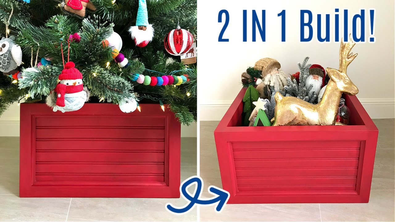 Diy Wood Christmas Tree Box That S Also Ornament Storage