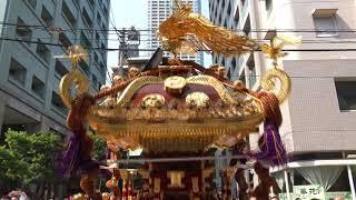 花園神社例大祭2018_神幸祭神輿渡御_花園小学校前_Mikoshi procession in Hanazono Shrine Festival