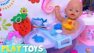 Baby Born Bath TIme in Cute Doll Bathroom!