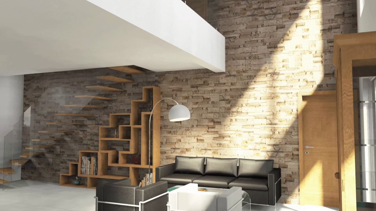 architecture d coration d 39 interieur visite 3d pi ces de vie et mezzanine youtube. Black Bedroom Furniture Sets. Home Design Ideas