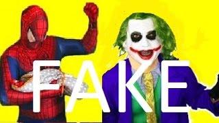 Spiderman vs Frozen Elsa vs Joker vs Superman ! FUNNY PRANK ! SUPERHEROES ! THEY ARE FAKE !