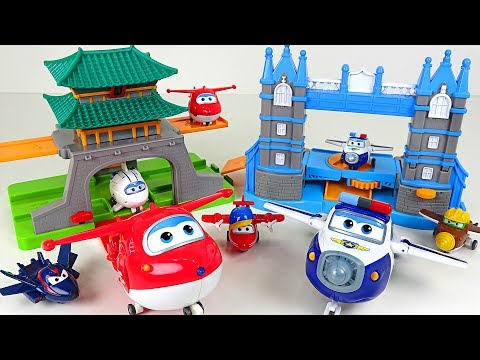 Go Super Wings 2! Tower Bridge Traffic Control and Package Delivery To Seoul set play - DuDuPopTOY