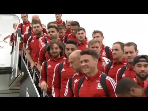 Wales arrive back at Cardiff Airport to fans' cheers | Euro 2016 | Football | Sports News | BBC News