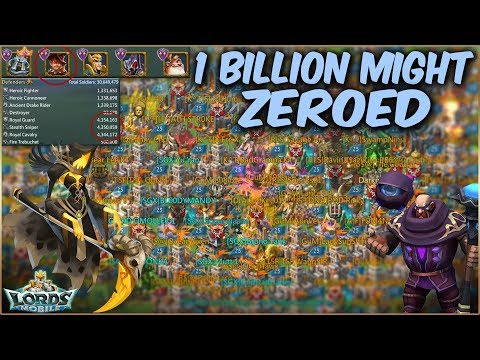1 Billion Might Zeroed | Trickster On Wall !! || Lords Mobile