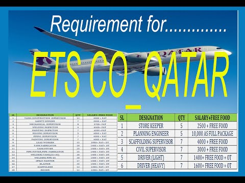 ETS CO QATAR Requirement..// Abroad Jobs for Qatar