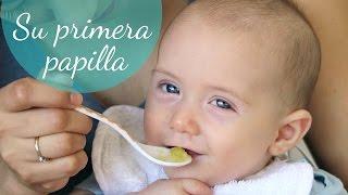 Nuestro bebé come papilla por primera vez | En casa con Pam y Fer