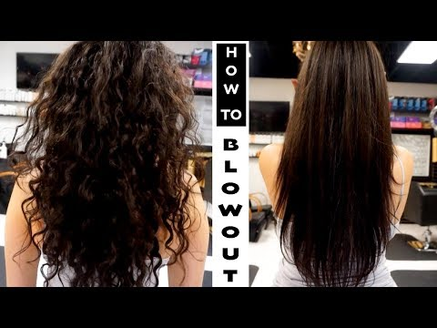 HOW TO BLOWOUT FRIZZY/CURLY | DIY SALON BLOWOUT