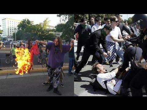 Protests Anti Trump in Albuquerque New Mexico (5-24-16) Donald Trump protesters Albuquerque NM rally