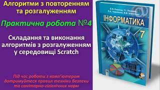 Практична робота № 4. Складання та виконання алгоритмів з розгалуженням у Scratch | 7 клас | Ривкінд