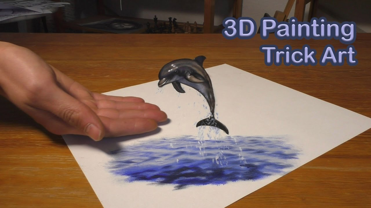 Dolphin fish painting in 3d trick art illusion youtube for How to paint 3d