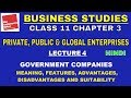 Private Public And Global Enterprises - Lec. 4 | GOVERNMENT COMPANIES