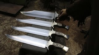 Forging 4 Bowie knifes from semi truck leaf spring steel, part 3, making the handles