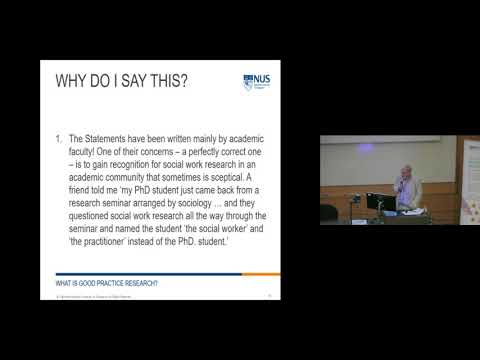 Public Lecture by Prof Ian Shaw on 'What is Good Practice Research?'