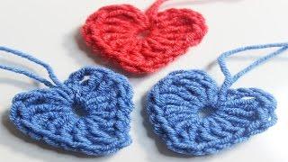 crochet tiny heart for beginner   كروشيه قلب صغير  خطوة بخطوة للمبتدئين