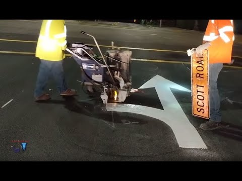 USA - FULL PROJECT - DIRECTION ARROWS AND 45 MPH SPEED LIMIT PAVEMENT THERMOPLASTIC!