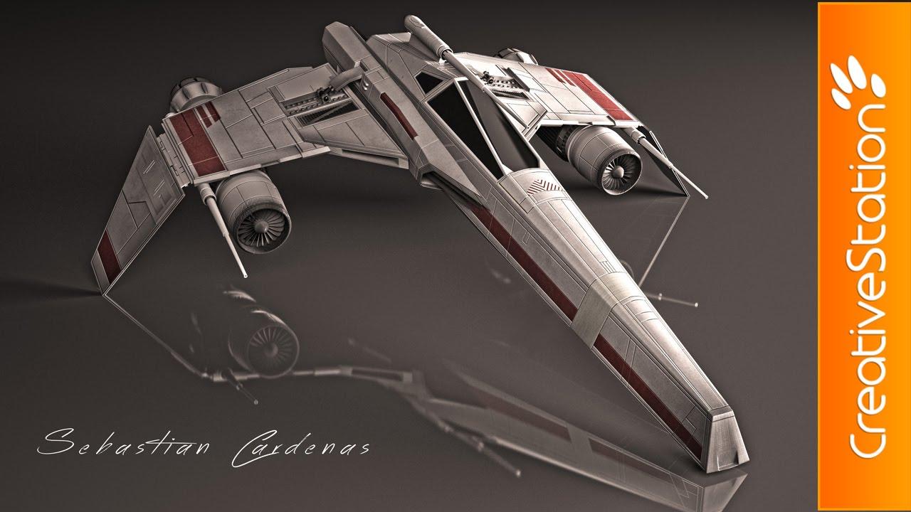star wars e wings 3d speed art 3dmax creativestation youtube. Black Bedroom Furniture Sets. Home Design Ideas