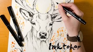 "Speed Drawing ""Deer Autumn"" - INKTOBER"