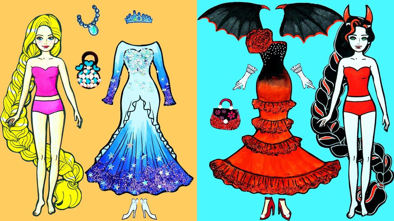 Paper Dolls Dress Up ~ Costumes Vampire Skirt Barbie Dresses Handmade Quiet Book ~ Dolls Beauty