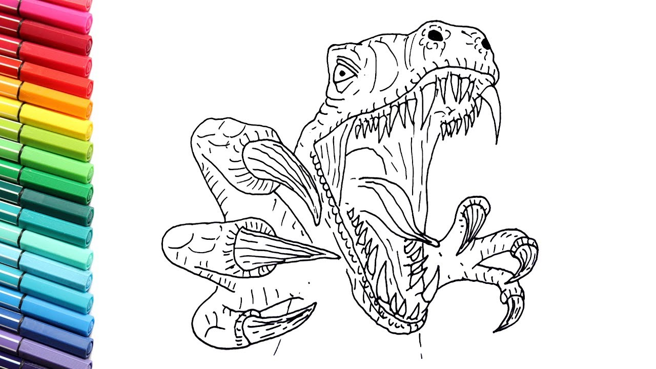 Drawing And Coloring Velociraptor Attack - Dinosaurs Color ...