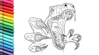 Drawing And Coloring Velociraptor Attack  - Dinosaurs Color Pages - How to Draw Jurassic Monster