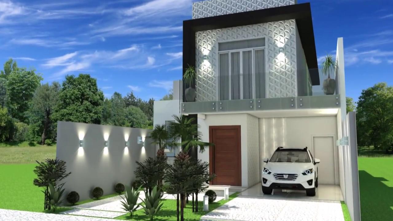Projeto casa sobrado moderno terreno 8x25 03 suites 140m2 for Casa moderno kl