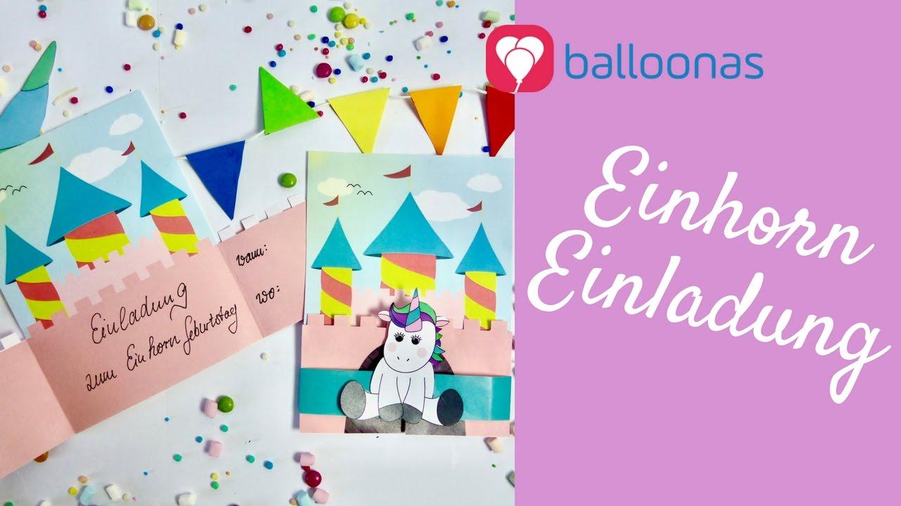 balloonas idee / diy: magische einhorn einladung mit