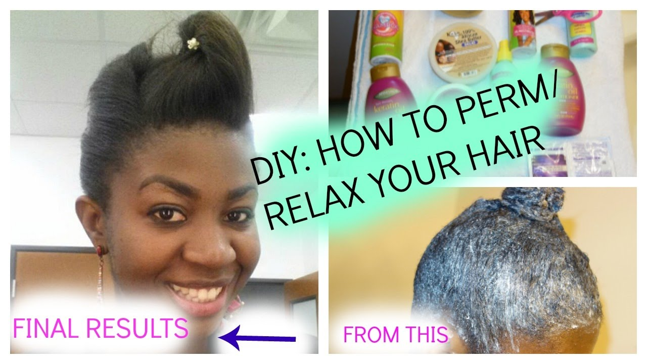 Diy How To Perm Relax Natural Hair Or New Growth Ft Dark And Lovely