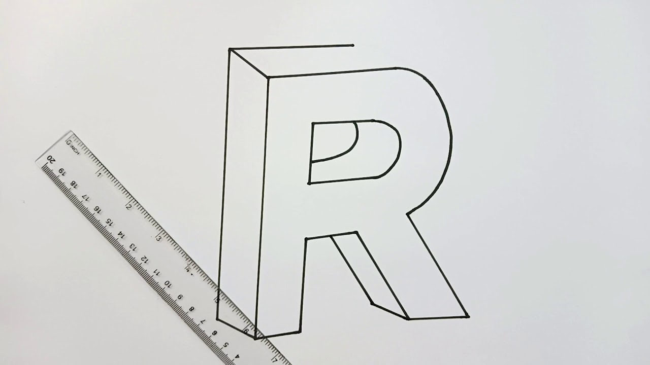 How to draw letter R in 3D easy | Easy Drawing Tutorial