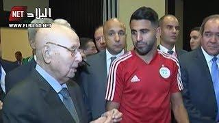"""شاهدوا ماذا قال بن صالح للاعبي الخضر .. """"جئت أحمل لكم رسالة من 44 مليون جزائري"""""""