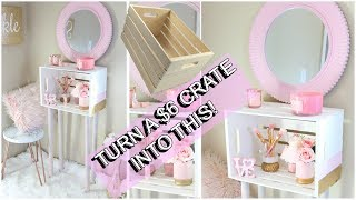 GOLD & BLUSH CRATE MINIMALIST VANITY/END TABLE DIY