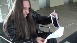"Gamma Ray - Dirk Schlächter at earMUSIC checking ""Skeletons & Majesties Live"" Artwork"