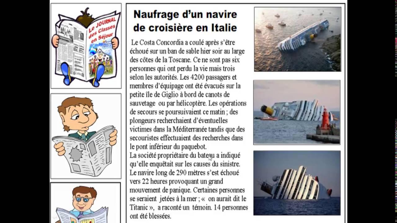 Francais 3am Projet 1 Sequence 1 Naufrage D Un Navire De Croisiere En Italie