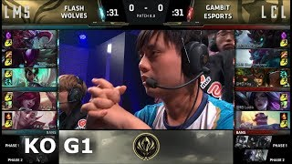 Flash Wolves vs Gambit Esports | Game 1 Knockout LoL MSI 2018 Play-In Finals | FW vs GMB G1