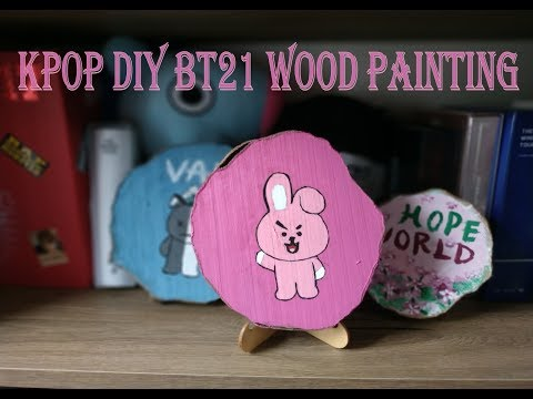 KPOP DIY BT21 WOOD PAINTING [ BT21 Ağaç Dilimi Tablo]