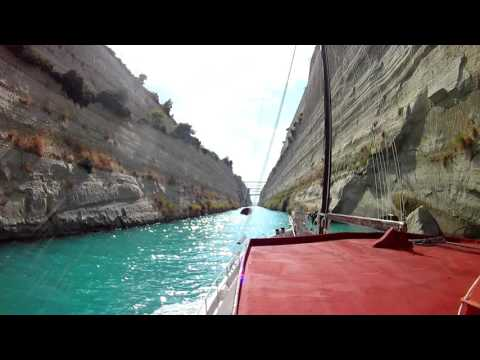 Greek Traditional wooden boat @KapetanGerasimos (Trexantiri) crossing the Corinth Canal