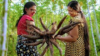 Manioc pittu recipes / village sweets Kalu dodol  recette manioc / mali cooking in nature
