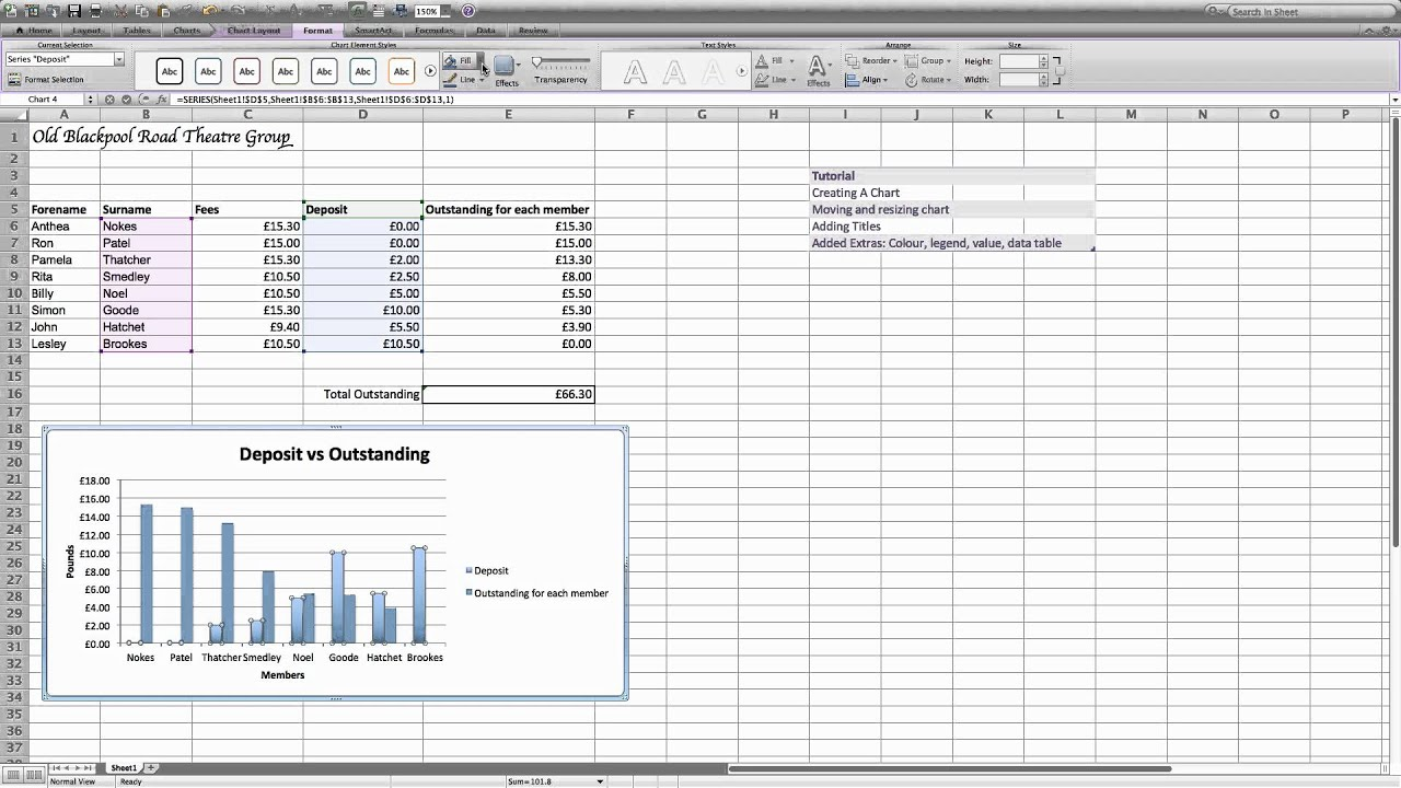 Chart Excel 2011 - YouTube