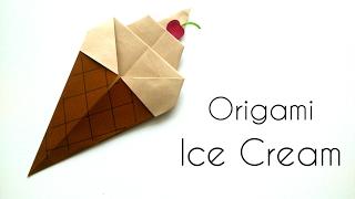 Origami Ice Cream Cone - Origami for Kids -  Paper Ice Cream Cone