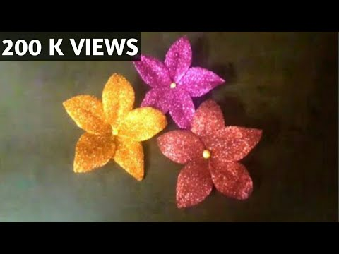 Easy way to make glitter foam flowers home decor youtube for Fomic sheet decoration youtube
