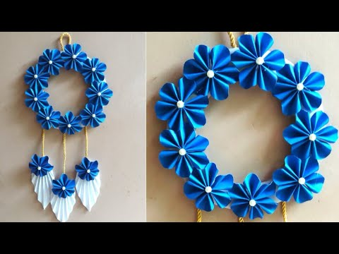 Diy How to make attractive paper flower wall hanging with paper | room decor | wall hanging ideas