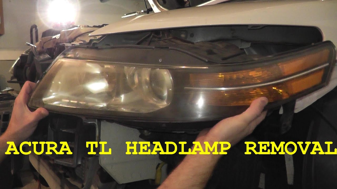 How To Install Replace Headlamp Headlight Assembly Acura TL YouTube - Acura tl headlight bulb