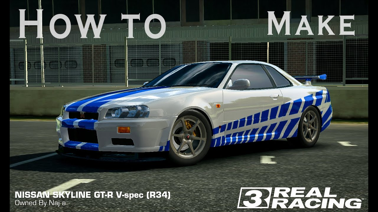 how to make 2 fast 2 furious nissan skyline gtr in real racing 3 youtube. Black Bedroom Furniture Sets. Home Design Ideas