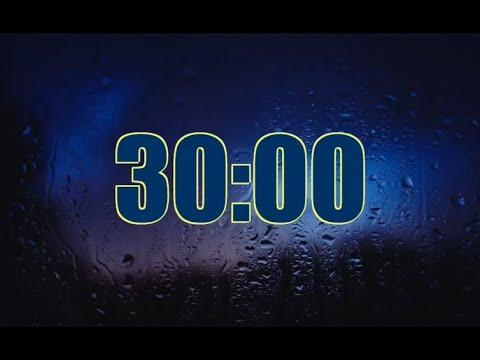 Heavy Rain Sounds - Rain under Raincoat Timer Countdown 30 minute no Alarm