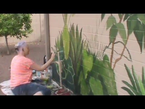 Time-lapse Exterior Mural of Tropical Plants by Gina Ribaudo of www.ILoveMurals.com