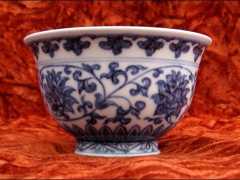 Ming dynasty, Yongle blue-white cup 明永樂青花纆枝蓮壓手杯