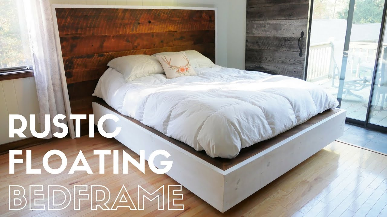 diy rustic floating bed