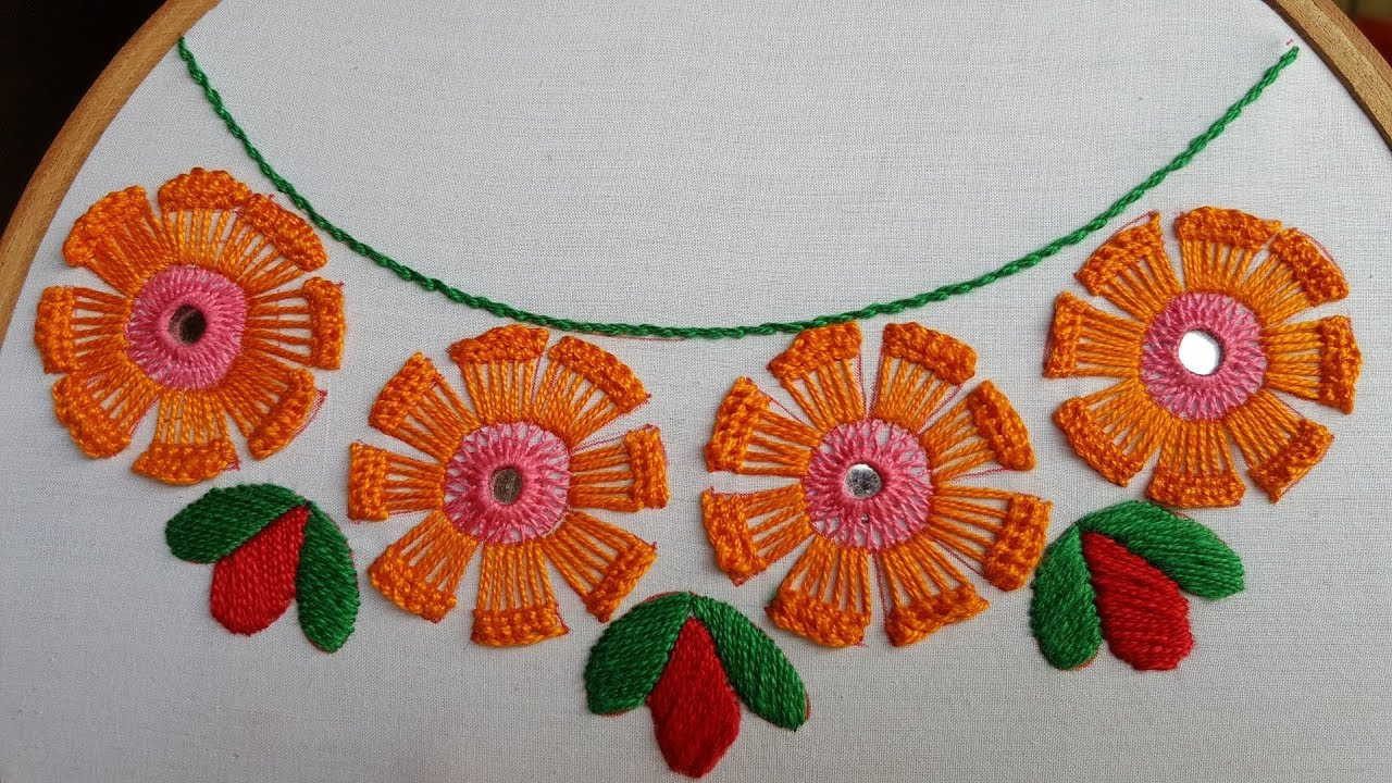Simple Hand Embroidery Neck Design Hand Work Embroidery Design