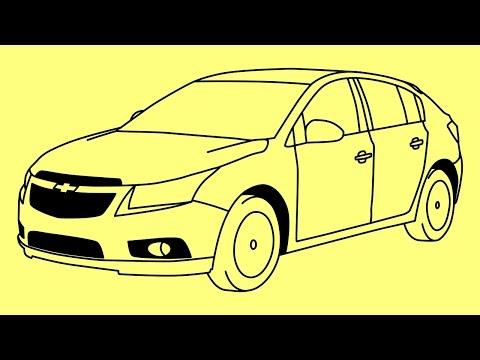 How To Draw Chevrolet Cruze - Как нарисовать машину Шевроле - Cómo Dibujar Un Coche